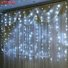 Corda conduzida da cortina de aifeng 3 m x 1.5 m 3 m x 2 m 3 m x 3 m guirlanda 144led 192led 300led para luzes do feriado da festa de casamento do natal