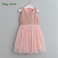 Stay Naive Princess Girl Evening Dress Sequin Net Yarn Dresses Ballet Style Wedding Dresses Girl Clothes