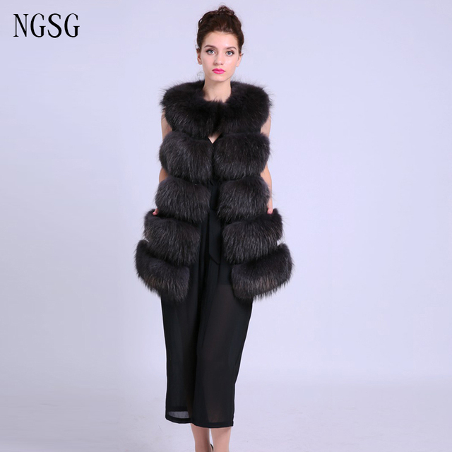 Brown Fur Vest Lady Waistcoat 100% Genuine Racoon Dog Fur Material Hot Sale Support Customized Women Jacket  New ER4020-2