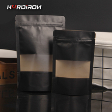 HARDIRON New Thick Black Kraft Paper Zipper Lock Bag Tea Candy Food with Transparent Display Window Standing Packaging bag