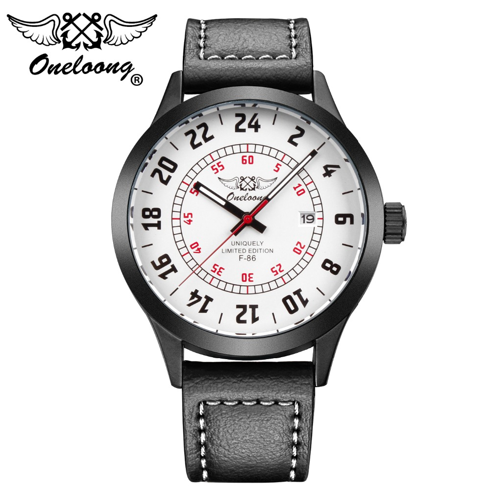 Reloj Hombre ONELOONG Brand Simple Casual Aviator Watches Men Date Waterproof Quartz Leather Mens Watch Relogio Masculino