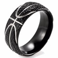 SHARDON Domed 8MM IP Black Titanium Basketball Inspired Ring STIPPLE TEXTURED FINISH Sports Band for Men