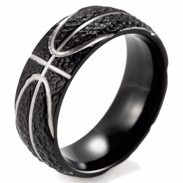 9f4a10da1f0 SHARDON Domed 8MM IP Black Titanium Basketball Inspired Ring STIPPLE  TEXTURED FINISH Sports Band for Men