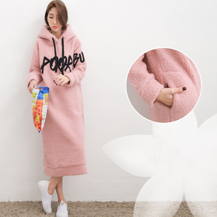 54f7120d2ff83 Wintre Sheep Velvet Thickening Pregnant Dress with Pocket Pink Clothes  Fashion Elegant Soft Comfortable Maternity Dresses HMA299-in Dresses from  Mother ...