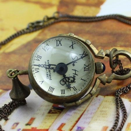 Small 1882 ANTIQUE STYLE ROMAN COPPER POCKET WATCH CHAIN Necklace