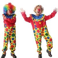 Ilishop Halloween Costumes Funny Circus Clown Costume Naughty Harlequin Uniform Fancy Cosplay Clothing Children Kid Boy