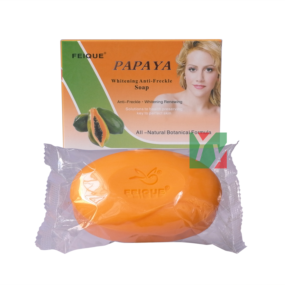 Feique All-natural Botanical Formula Papaya Whitening Anti-freckle Renewing Soap 130g Per Pcs