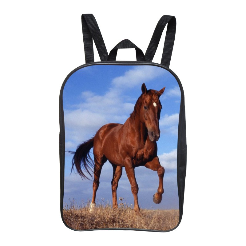 2016 Hot Sale 12-Inch Printing Brown Horse Baby Boys Animal School Bags Kids Girls Bookbag for Backpack for Children Student Bag