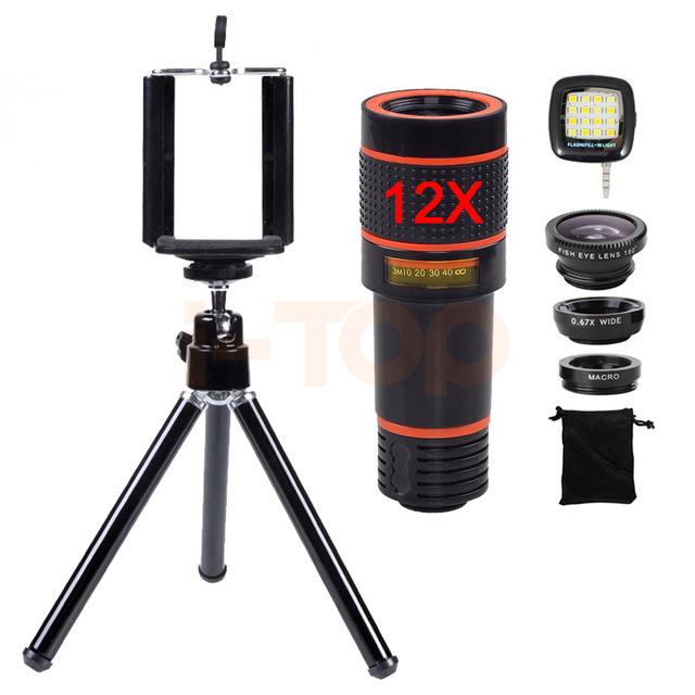 New 12X Lente Zoom Telefoto Telescópio Microscópio Clips Tripé Fisheye lentes macro wide angle para iphone 6 7 telefone inteligente Lentes