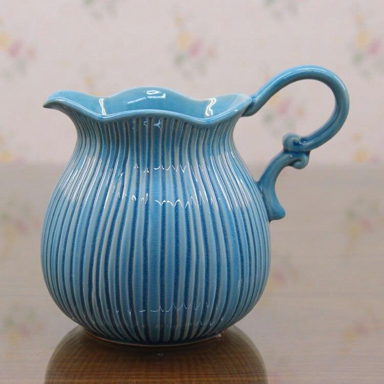 European All match Ceramic Vase Table Mediterranean Single Ear American Decorative Vase Milk Pot