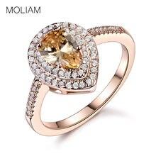 4acd9faa4efa MOLIAM elegante Cubic Zirconia piedra anillos de dedo para las mujeres de  oro de Color gota