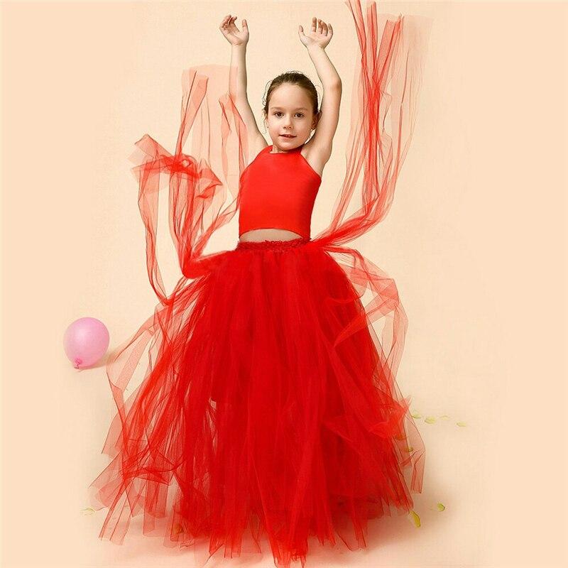 Fashion Elegant Children Dresses Lovely Tiered Purple Kids Evening Gown Floor Length Flowers Girl Dresses Ball Gown