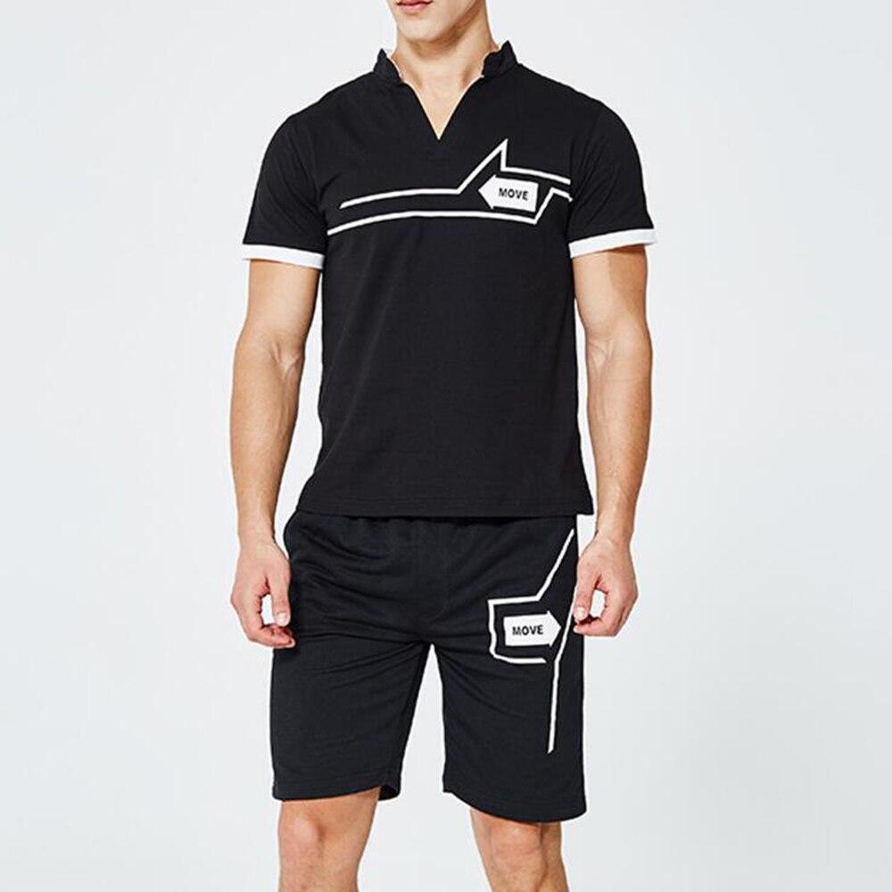 Sportsuits Set Men Fitness Suits Streetwear Summer 2PC Top Short Set Mens Stand Collar Fashion 2 Pieces T-shirt Shorts Tracksuit