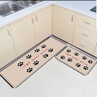 2 Piece Kitchen Mats and Rugs Set Funny Wiping Your Paws Home Deocr Non Skid Area Runner Doormats Carpet