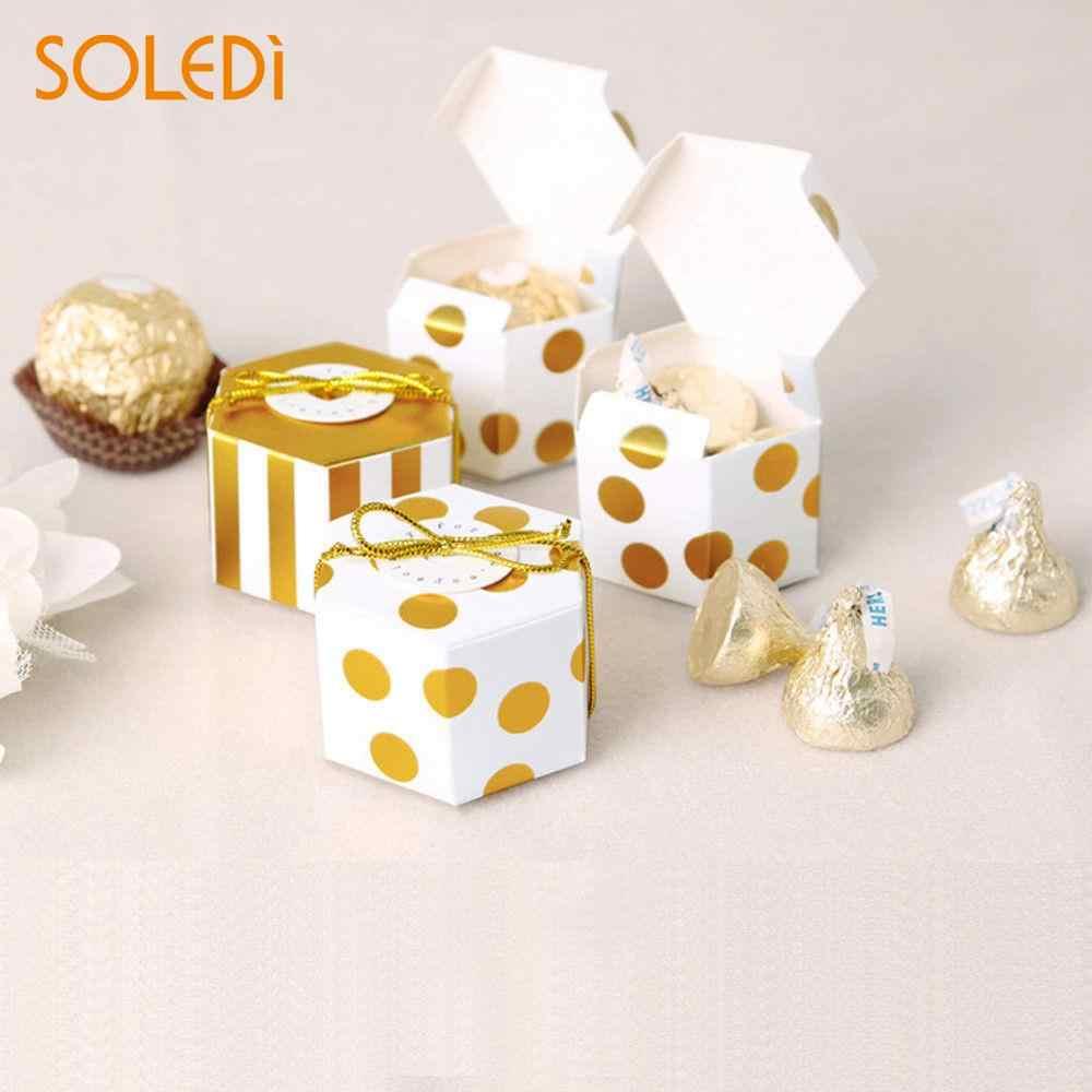 Bonito Sobremesa Pacote Ouro Branco Cobre Portátil De Armazenamento Sacos Do Favor Do Casamento Caixas de Chocolate de Natal