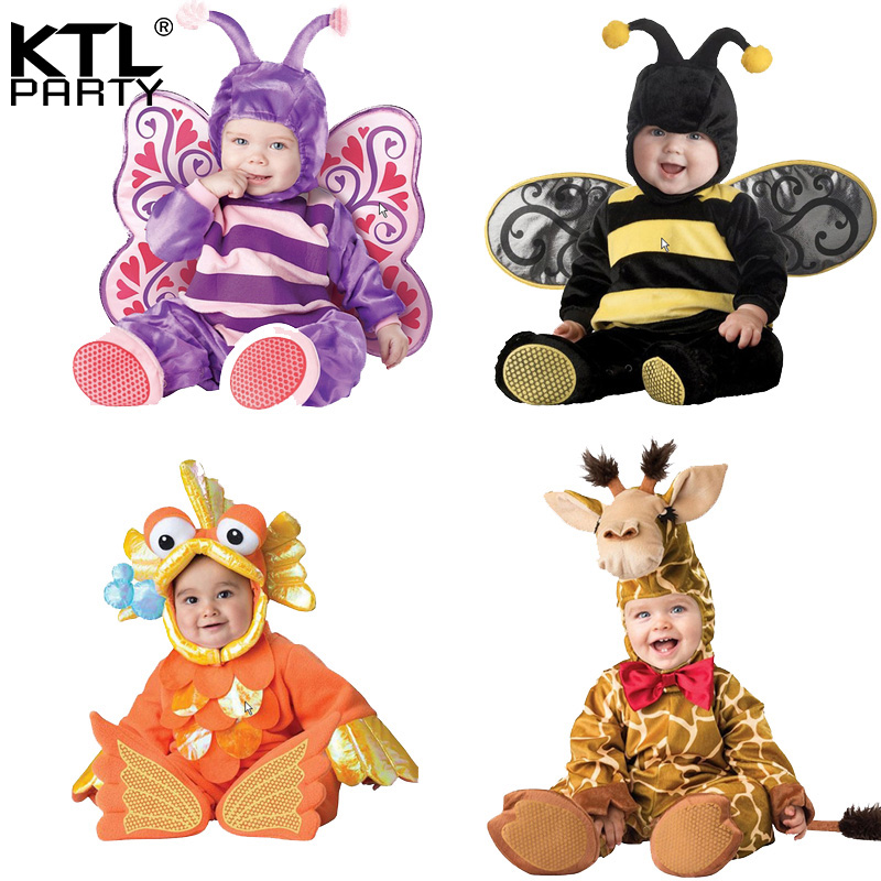 Halloween Party cosplay baby children plush animal costume Infant goldfish bee butterfly giraffe cow costume shoes jumpsuit