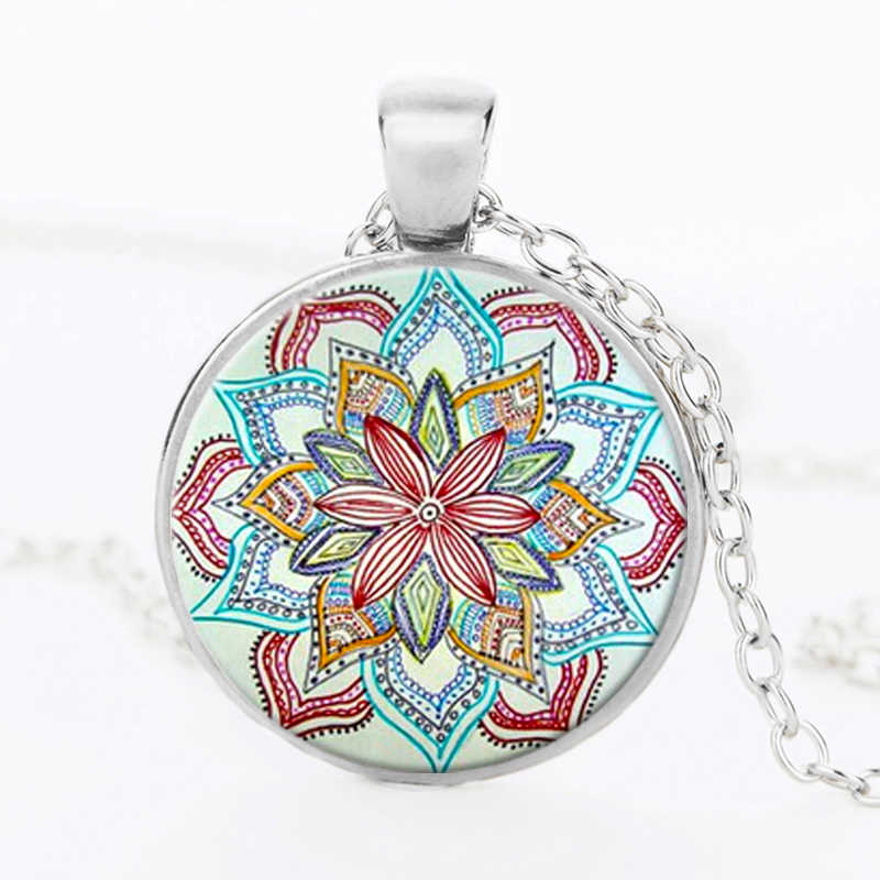 SUTEYI Vintage Mandala Flower Necklace Charms Glass Dome Pattern Necklaces & Pendants Yoga Henna Om Symbol Zen Buddhism Jewelry