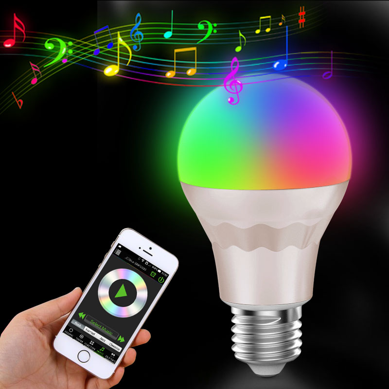 Music bulb SmartWireless 2.4G Wifi control E27 RGBW LED Lamp Bulb RGB+ White for smartphone  iPhone iOS for Android SmartPhone smart bulb e27 led rgb light wireless music led lamp bluetooth color changing bulb app control android ios smartphone