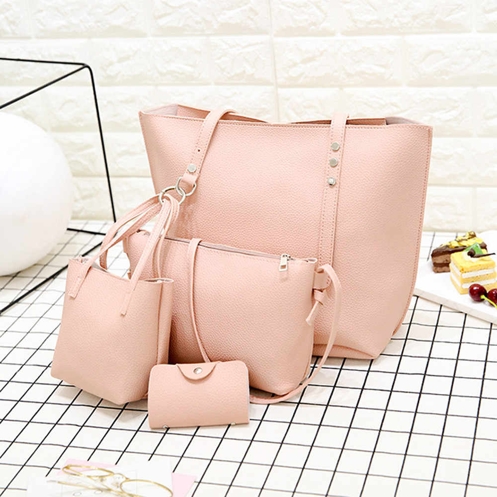 4pcs Women Pu leather Combination Package Family Big Cpacity Shoulder Bag+crossbody Bag+handbag+wallet Brand Waterproof Bag