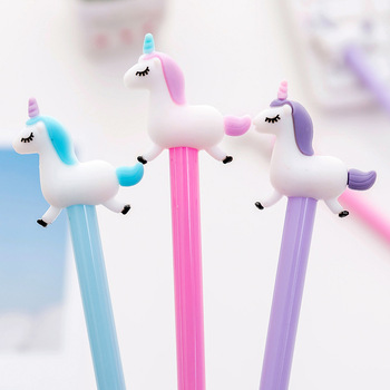 Cute cartoon jumping unicorn neutral pen creative students examination black water signature gel pen office stationery image