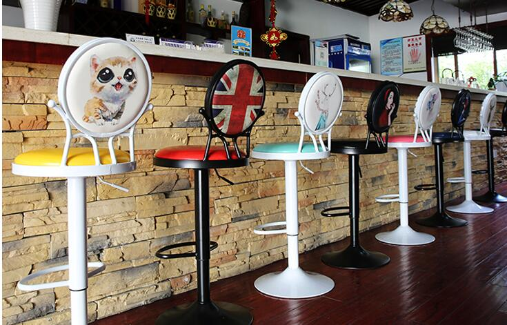 European Classic Antique Iron Art Bar Chair Lift  To Back Swivel The Modern Simple Bar Stool001