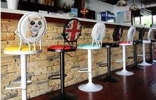 цена на European classic antique iron art bar chair lift  to back swivel the modern simple bar stool001