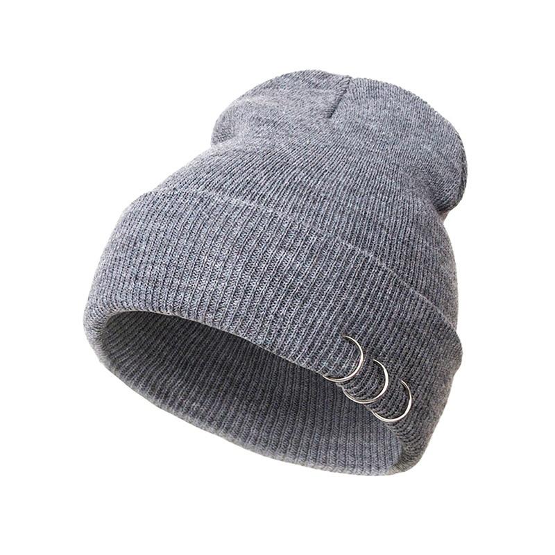 Autumn Winter For Women Knitted Warm Cap Fashion Iron Ring Skullies  Beanies Solid Woolen Hat Caps fashion winter hat solid color woolen flat top cap unisex autumn and winter cap w005