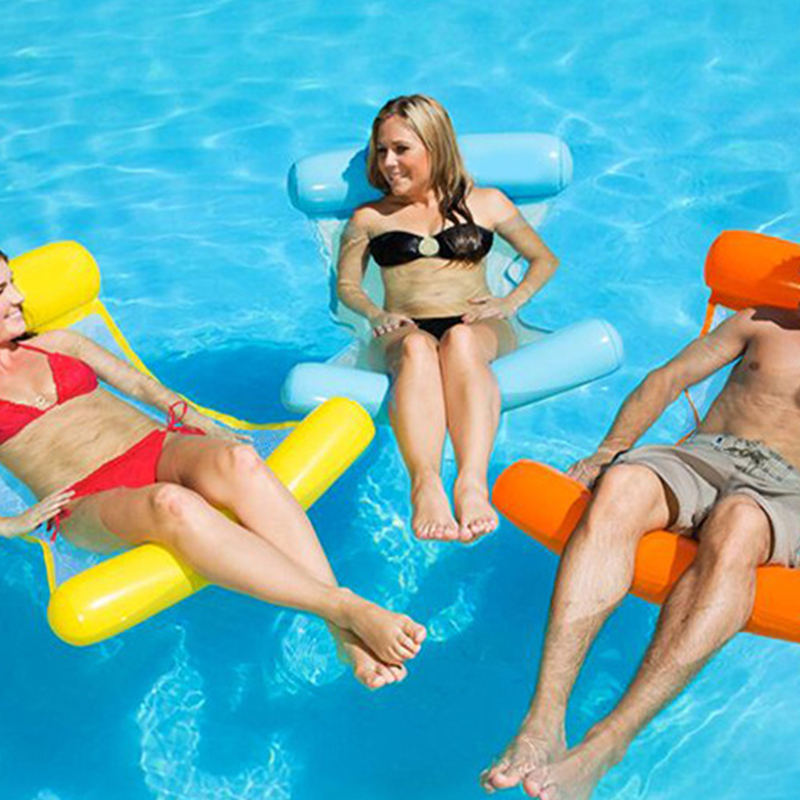 Inflatable Hammock Swimming Mattress Pool Float Water Float Lounger Chair Swimming Pool Inflatable Circle Adult Pool Party DA