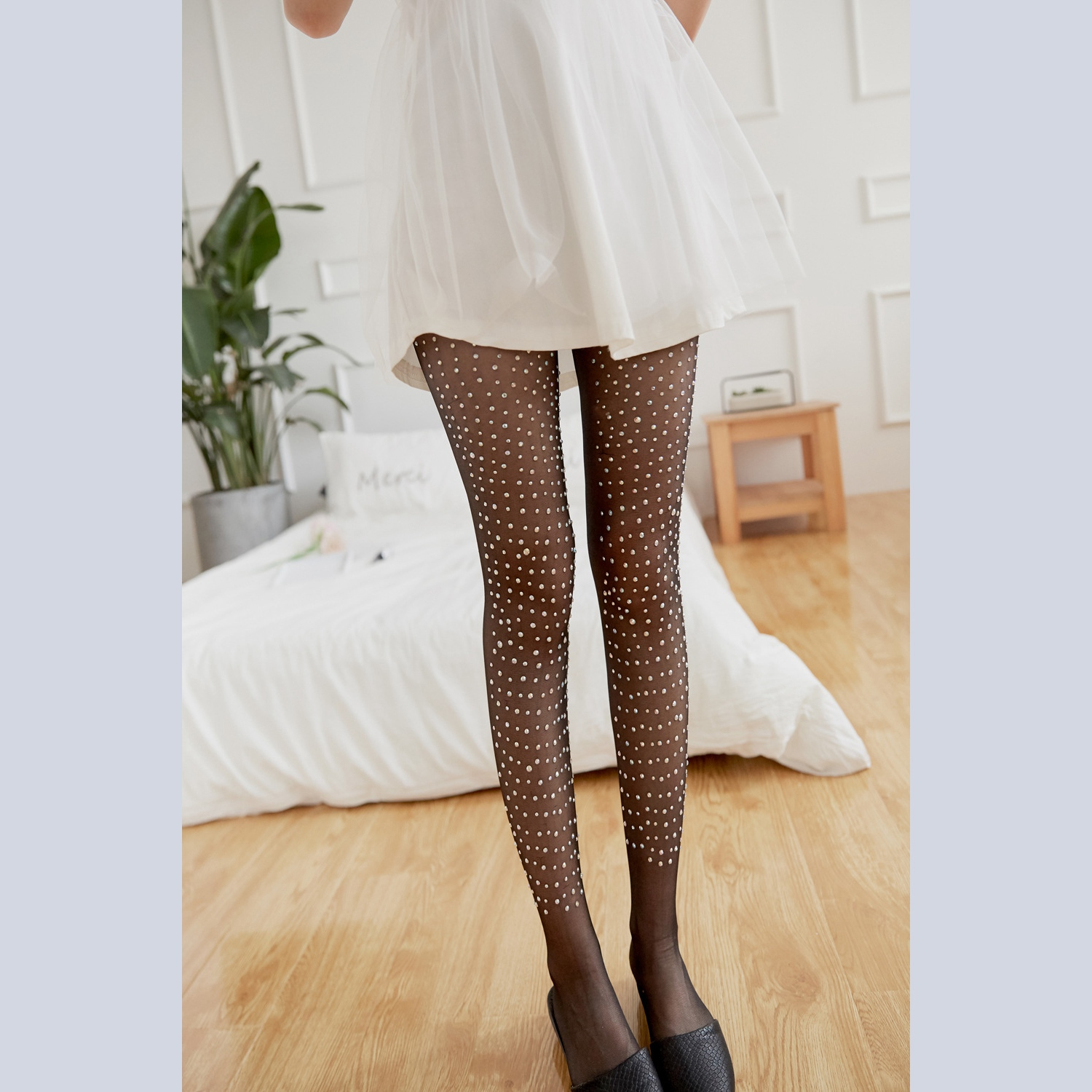 Buy Fashion Fashion Women Sexy Shiny Single Side Rhinestone Tights Stockings Pantyhose Stockings Hosiery Hosiery Women's Tights Wo