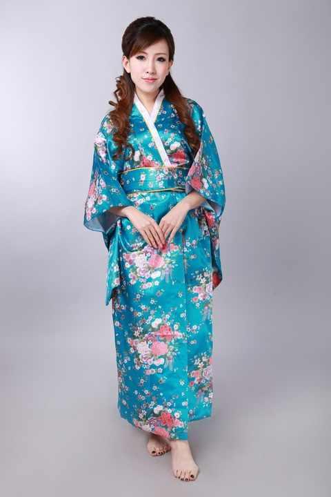 Freies Verschiffen! See blau Japanische frauen Silk Satin Kimono Yukata Abendkleid Blume Eine Größe H0044-A