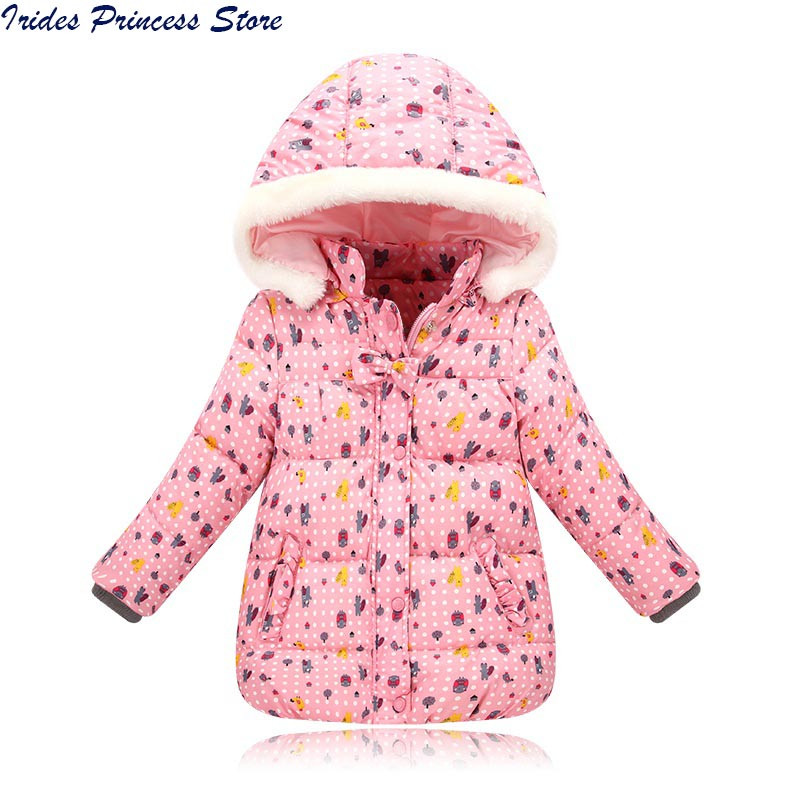 Kids Children Winter Jackets for Girls Warm Down Parkas Hooded Down Coat Cartoon Print Girls Christmas Warm Coats Outerwear 2017 new winter sytle children clothing fashion cartoon print girls down & parkas 1 6y hooded children jackets coats for girls