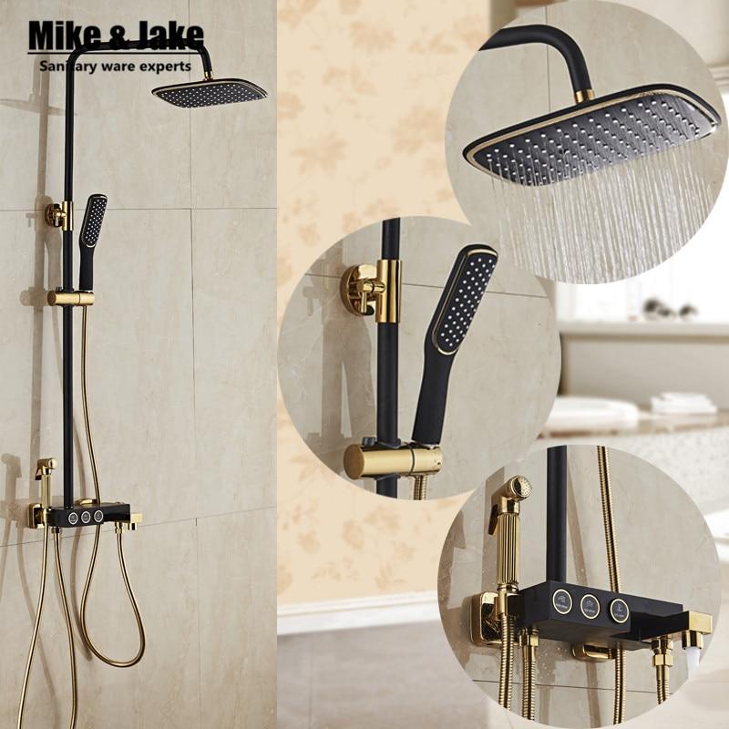 Bathroom Luxury black shower set with press button digital shower set bathroom black Bronze Shower faucet Bathtub Faucet JY5688