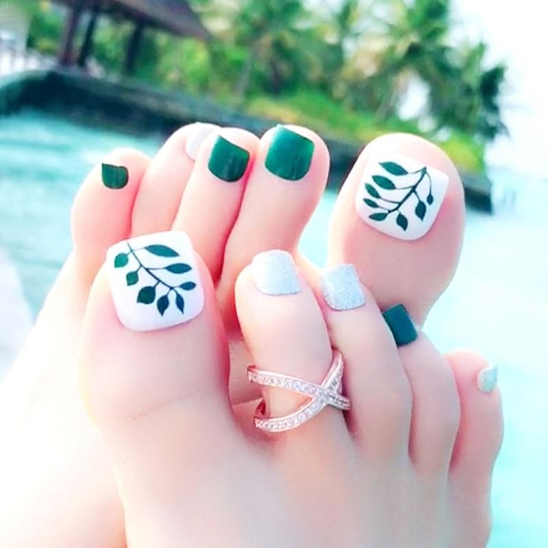 ᐃ24Pcs / Set Fashion Nail Sticker False Fake Artificial Toe Nails ...