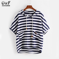 Dotfashion Striped High Low Hooded T Shirt 2017 Summer Navy T Shirt Women Half Sleeve Round