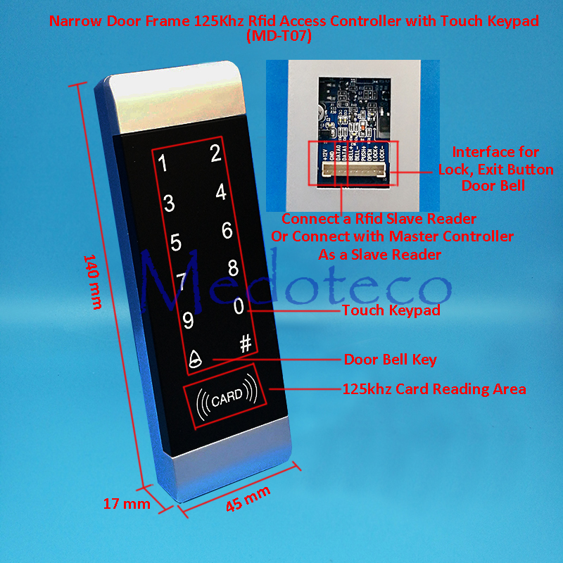 125khz rfid Card Access Control Slim Rfid EM card touch keypad access controller for Narrow Frame Door wiegand 26 input & Output