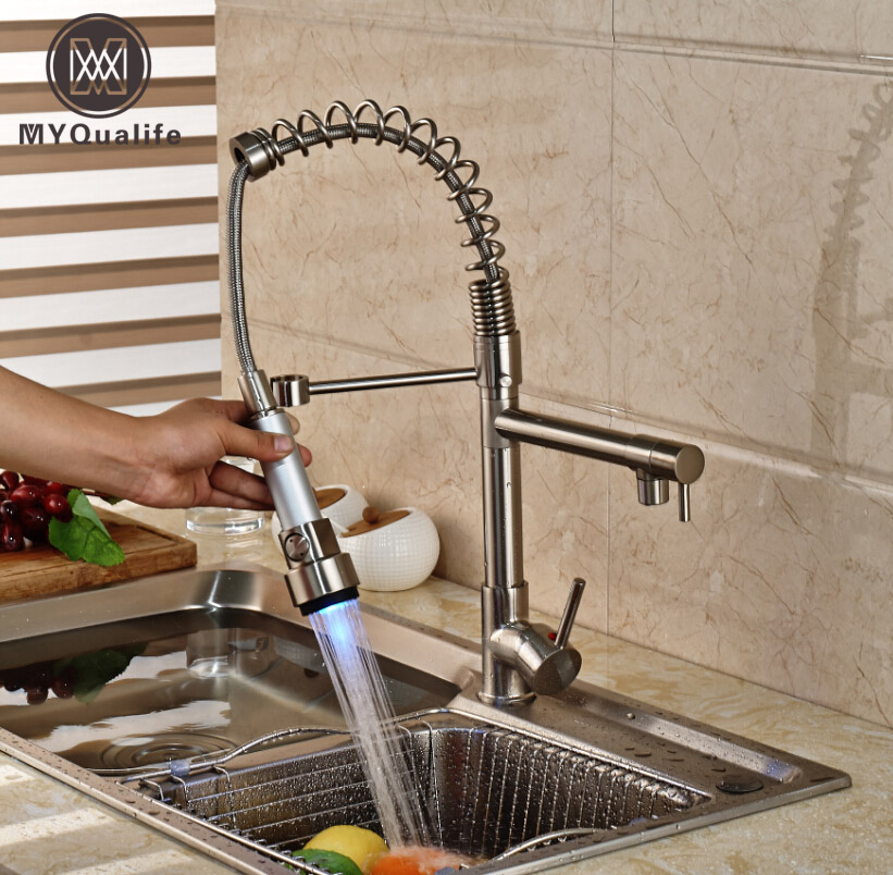 Deck Mounted LED Spring Kitchen Faucet Single Handle Sink Mixer Swivel Spout Tap Brushed Nickel цена