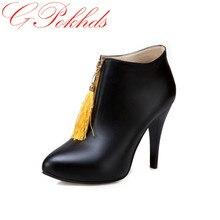 Gpokhds женские ботильоны плюс Размеры 34–43 из PU искусственной кожи на молнии на высокой шпильке острый носок женская зимняя модная женская обувь черный