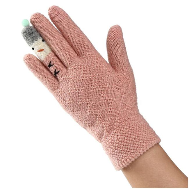 Lady knitted winter cycling gloves plus plush warm gloves D