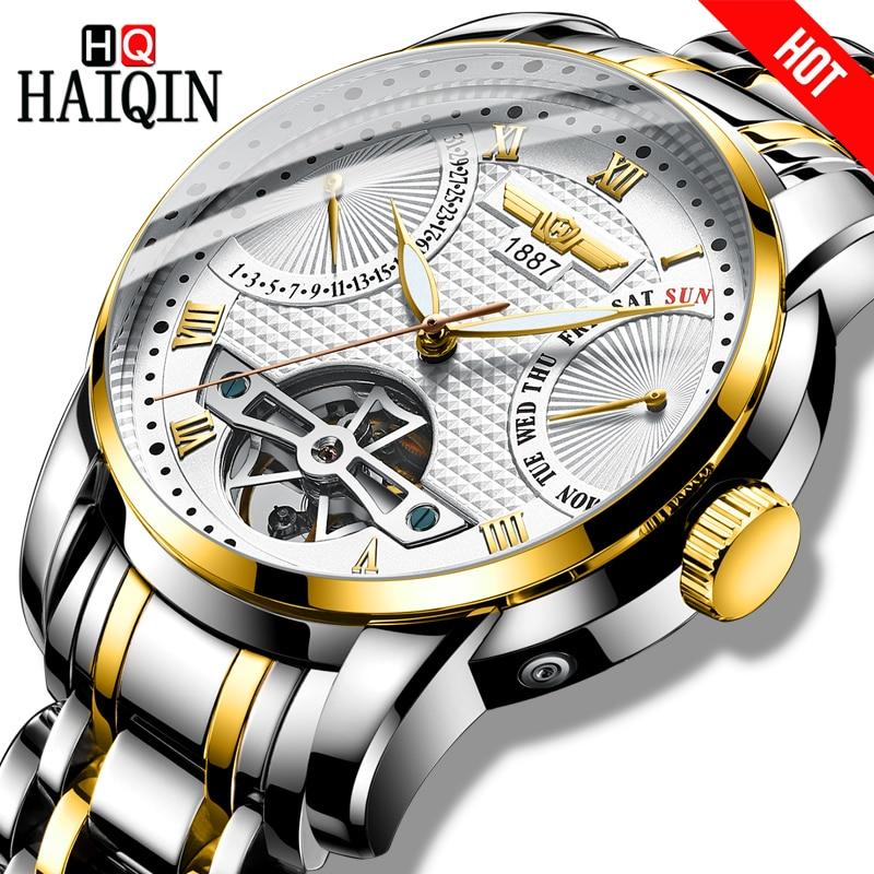 HAIQIN relojes mecánicos para hombre, relojes de lujo de marca, Reloj automático para hombre, Reloj de pulsera de oro, Tourbillon para hombre
