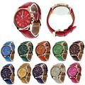 2016 Hot Sale Fashion Geneva Roman Numerals Faux Leather Analog Quartz Women Wrist Watches Good-looking AP 11