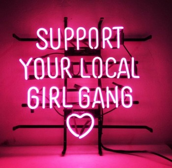 Custom Support Your Local Girl Gang Heart Glass Neon Light Sign Beer Bar