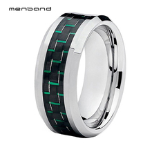 Tungsten Carbide Ring for Men Women Black Green Carbon Fiber Inlay With Beveled Edges Comfort Fit Polished Finished Wedding Band