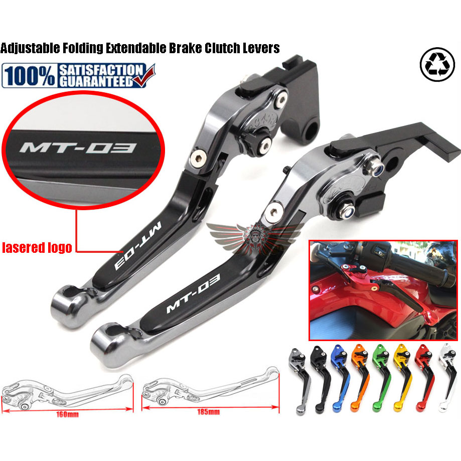 Motorcycle Adjustable Folding Extendable Extending Brake Clutch Levers fits For YAMAHA MT-03 MT03 05-09 billet alu folding adjustable brake clutch levers for motoguzzi griso 850 breva 1100 norge 1200 06 2013 07 08 1200 sport stelvio