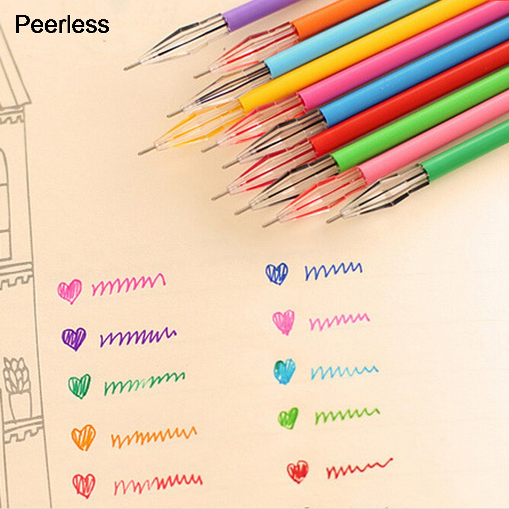 Gel Pens Pens, Pencils & Writing Supplies Peerless 12 Pcs/lot 0.5mm Plastic Candy Color Diamond Colored Ink Gel Pen Refill Replacement