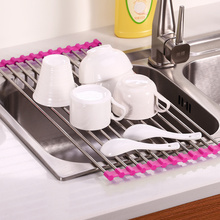 Over The Sink Multipurpose Roll Up Dish Drying Rack Foldable Sink Drainer  Tray Kitchen Organizer Storage Stainless Steel