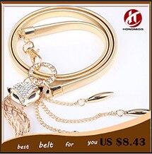 Fox & horse waist thin chain belt for women fashion all-match elegant young girl rhinestone jewelry gold silver belt