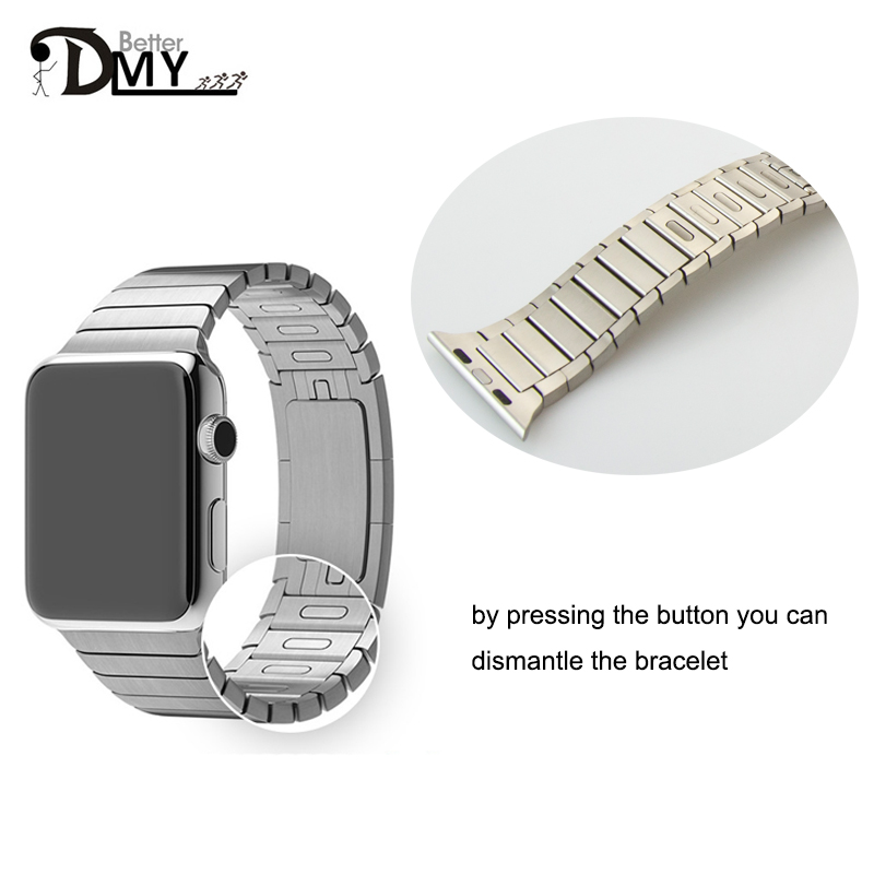 DMY high quality loop Link Bracelet band stainless steel For Apple Watch strap 1:1 original 42mm 38mm without Tool Silver black от Aliexpress INT