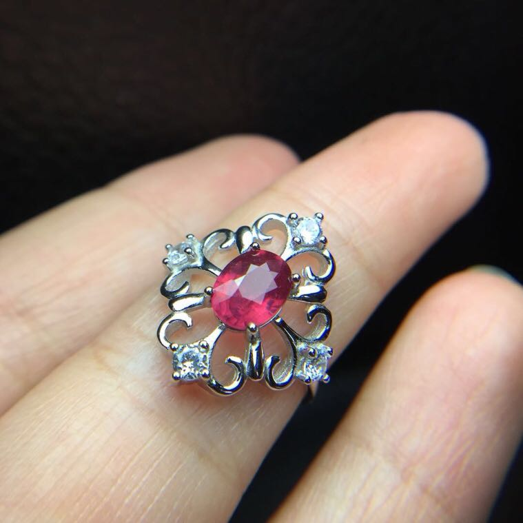 Fashion Ruby ring Free shipping Natural and real ruby 925 sterling silver Fine jewelry  6*8mm