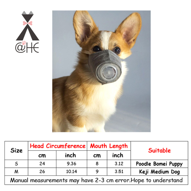 @HE Dog Soft Face Cotton Mouth Mask  Pet Respiratory PM2.5 Filter Anti Dust Gas Pollution Muzzle  Anti-fog Haze Masks For Dogs 5