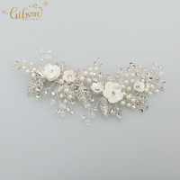 Handmade Wedding Decoration Fashion Jewellery Pearl Porcelain Blossom Leaf With Rhinestone Bridal Hair Clip Wedding Barrette